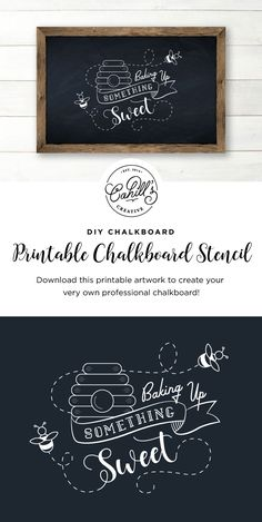 Create your very own professional chalkboards with this printable artwork! You can find an easy step-by-step guide at http://cahillscreative.com/diy/chalkboard-artwork/ on how to recreate this chalkboard art, a list of supplies, and shop other printable chalkboard art at https://www.etsy.com/shop/CahillsCreative.  #chalkboardart #diychalkborad #printablechalkboard #chalkboardstencil