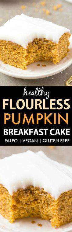 Healthy Flourless Pumpkin Breakfast Cake (V, GF, P, DF)- An easy, one bowl flourless pumpkin breakfast cake recipe- Moist and fluffy with a tender exterior- Topped with a healthy frosting! {vegan, gluten free, paleo recipe}- thebigmansworld.com #pumpkin #healthyrecipe