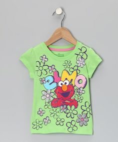 Take a look at this Green 'Elmo' Flower Tee - Toddler by Sesame Street on #zulily today!