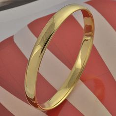 Simple Yellow Real Gold Filled Women's Smooth Bangle Size for sale online Plain Gold Bangles, Mens Gold Bracelets, Mens Gold Jewelry, Gold Jewelry Simple, Gold Ring Designs, Gold Bangles Design, Gold Jewellery Design, Watches, Smooth