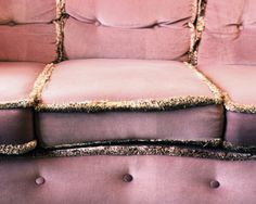 Boho fade pink velvet settee with gold trim