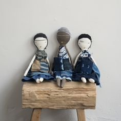 Our Indigo Rag Dolls by Jess Brown Design and Cloth and Goods on site www.clothandgoods.com