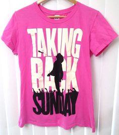 Taking Back Sunday Womens Juniors 2XL Bright Pink Rock Band Music TShirt Logo #Optima #GraphicTee