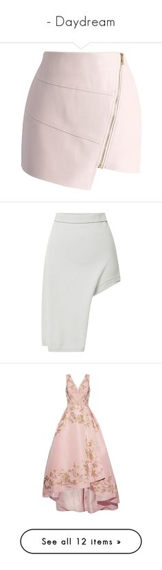 """""""- Daydream"""" by trinity-daydream ❤ liked on Polyvore featuring skirts, mini skirts, bottoms, faldas, saias, pink, pink faux leather skirt, asymmetrical skirt, pink mini skirt and mini skirt"""