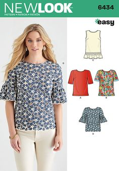 New Look Ladies Easy Sewing Pattern 6434 Simple Tops in 4 Styles New Look Patterns, Easy Sewing Patterns, Clothing Patterns, Fabric Patterns, Pattern Sewing, Sewing Basics, Sewing For Beginners, Sewing Tips, Basic Sewing