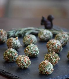 One-bite Gorgonzola Cheese Balls with herbs and pecans - perfect for New Year's Even or any party! Only 85 calories each - TheFitFork.com