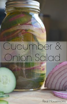 This light salad of cucumber and onion soaked in apple cider vinegar is perfect for your summer picnics and BBQ's, sub sweet blend Cucumber Onion Salad, Cucumber Recipes, Veggie Recipes, Great Recipes, Salad Recipes, Favorite Recipes, Healthy Recipes, Detox Recipes, Healthy Options