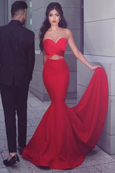 Two Pieces Red Prom Dresses picture 1