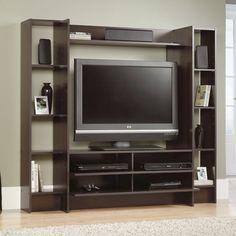 "Flat Screen TV Stand Entertainment Center Cabinet Wood Home Theater Cherry 42"" #TVStandConcept #Modern"