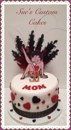 Betty Boop cake Feathers, red & black