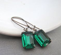Green Earrings Emerald Green Vintage Glass Glass by fiveforty, $18.00