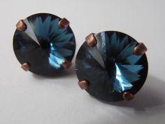 Montana Blue 12mm Swarovski crystal Rivoli by ParisiJewelryDesigns, $26.99