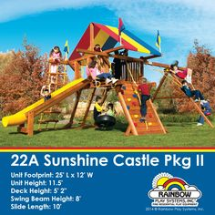 Our sunshine castle is one of our most popular play systems. #Rainbow #Outdoor #swingset