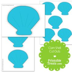 Printable Blue Clam Shell Cut Outs