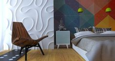 Perete colorat si perete texturat pentru decorul dormitorului. #peretetexturat, #amenajaridormitoare