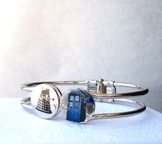 Doctor Who Dalek and Tardis faceoff Bracelet by TimeMachineJewelry