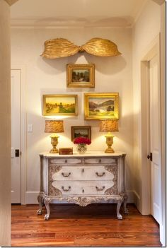 Julie Dodson vignette topped with gilt bow from Kay O'Toole