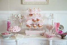 pink ballet ballerina birthday party dessert table with pink cupcakes and pink candy