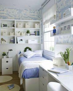 Soft blue girls room color scheme ideas.  Gorgeous wallpaper.