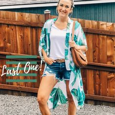 Don't be left with Fashion FOMO! 👀 There's only one left of this gorgeous kimono & it's ready to ship out today! ☀️ Treat yourself, it's Friday! 💋 Chiffon Kimono, Kimono Top, Luxe Boutique, Palm Print, Love Her, Cover Up, Summer, How To Wear, Shopping