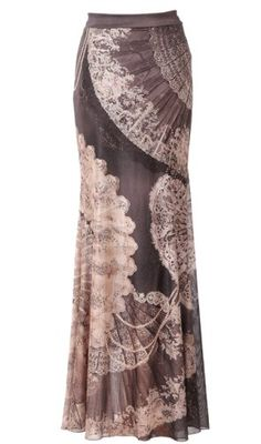 Michal Negrin Enticing Black Mermaid Skirt Accented with Fans Pattern Accented with Swarovski Crystals; Handmade in Israel