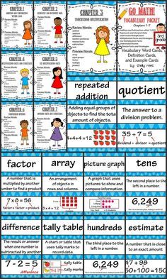 Go Math 3rd Grade Vocabulary - Unit 1. Includes vocabulary, definition, and visual example cards for ALL vocabulary words in Chapters 1-7 for third grade! Color-coded blue to match student textbooks. Awesome!