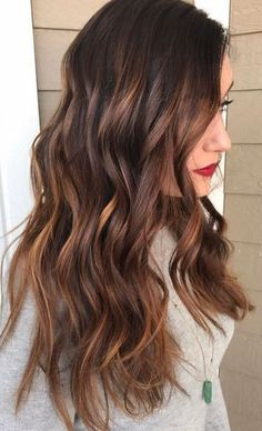 Trendy Hair Color Ideas  2017/ 2018  :  warm brunette highlights