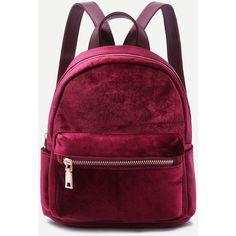 Mini Metallic Zip Velvet Backpack BURGUNDY (£24) ❤ liked on Polyvore featuring bags, backpacks, burgundy, day pack backpack, mini zip bags, metallic bag, metallic backpacks and mini backpack