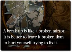 Something we simply can't fix.So don't get in your little mind that you are capable of fixing something that broken.It is not your responsibility,especially if you had no cause in it.You will only shatter the pieces even more and cut yourself in that process.A heart will heal if wanted over time.
