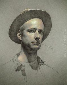 Anthony J. Ryder Self-portrait painting, oil on canvas & frame; Anthony J. Ryder Self-portrait is shipped worldwide, 60 days money back guarantee. Portrait Au Crayon, L'art Du Portrait, Pencil Portrait, Portrait Paintings, Life Drawing, Figure Drawing, Painting & Drawing, Portraits Pastel, Pastel Art