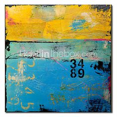 """Hand-painted Abstract Oil Painting with Stretched Frame 24"""" x 24"""""""