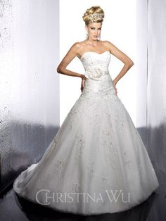 Christina Wu Wedding Dress - Style Strapless taffeta and lace tulle wedding dress with sweetheart neckline, pleated bodice and floral accent at waist, trumpet skirts featuring lace appliques. Perfect Wedding Dress, Cheap Wedding Dress, Wedding Dress Styles, Dream Wedding Dresses, Designer Wedding Dresses, Bridal Dresses, Wedding Gowns, Bridesmaid Dresses, Tulle Wedding