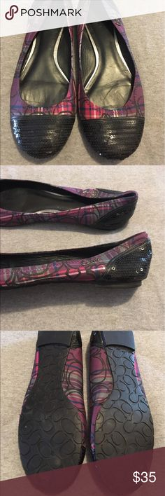 Coach Flats Purple, pink, navy and black. Black seguin toe and back. Size 9. Only worn once. Coach Shoes