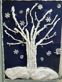 Winter scene with snow. Winter Art Projects, Winter Project, Winter Crafts For Kids, Projects For Kids, Art Activities For Kids, Winter Activities, Art For Kids, Preschool Christmas Crafts, Art Lessons Elementary