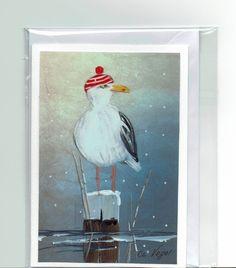 Grüße - Grußkarte - Möwe, handgemalt - ein Designerstück von Vogelmalerin bei DaWanda