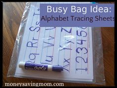 Busy Bag Idea: Alphabet Tracing Sheets: complete instructions to make your own, includes printables!