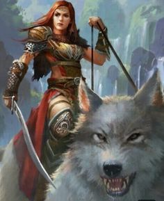 f Ranger Med Armor Cloak Sword Giant Wolf Mount Hills Monastery river waterfalls med Fantasy Warrior, Fantasy Girl, High Fantasy, Fantasy Women, Fantasy Rpg, Medieval Fantasy, Fantasy Artwork, Woman Warrior, Character Inspiration