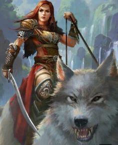 f Ranger Med Armor Cloak Sword Giant Wolf Mount Hills Monastery river waterfalls med Fantasy Female Warrior, Fantasy Rpg, Dark Fantasy Art, Fantasy Artwork, Woman Warrior, Fantasy Art Women, Fantasy Girl, Character Inspiration, Character Art