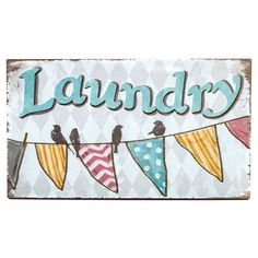 Laundry Wall Sign with Banner & Birds