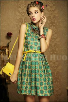 New arrive dresses 2013 vintage slim fit baroque sleeveless turn down collar women's dress,empire noble feminine summer dress-in Dresses from Apparel & Accessories on Aliexpress.com