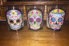 Sugar Skull Votive Candle Holders set of 3 by TreasuresByTerese