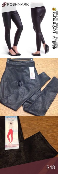 """ASSETS SPANX Structure shine faux leather leggings NWT, Assets by Spanx brand. Black faux leather leggings. Has a """"cracked leather-like"""" effect (not smooth/flat) 💖 Size L💖 Waist: 33.5-35.5"""". Hips: 41-43"""" 💖 Form-fitting shiny exterior for a sleek silhouette.  ✔️Wide elastic waistband with interior power mesh flattens the stomach ✔️Hand wash ✔️Lining: nylon / spandex ✔️Body: polyester / spandex  🚫No trades🚫No lowballing 🚫No off-Posh transactions 🚭Smoke-free 🐶Pet-friendly 📬Fast…"""
