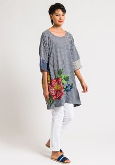 Péro - Cotton Embroidered Gingham Tunic in Blue