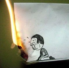 Getekend jongetje die het vuur wil uitblazen