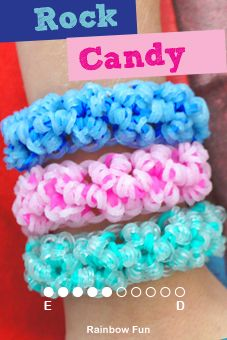 How to make a Rainbow Loom Rock Candy bracelet|Loom bracelet designs in glitter and jelly bands