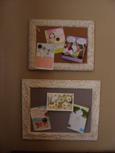 A matching corkboard, albeit small, seemed like the appropriate use for my other garage sale frame.