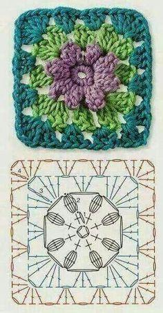 Crochet Granny Square Patterns The Ultimate Granny Square Diagrams Collection. - The Ultimate Granny Square Diagrams Collection. Motifs Granny Square, Crochet Blocks, Granny Square Crochet Pattern, Crochet Flower Patterns, Crochet Diagram, Crochet Chart, Crochet Squares, Crochet Flowers, Granny Squares