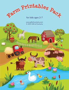 Farm Printable Pack with 63 activities focused on shapes and colors, orting / sequencing / categorizing, puzzles, mazes, fine motor, math, and literacy.
