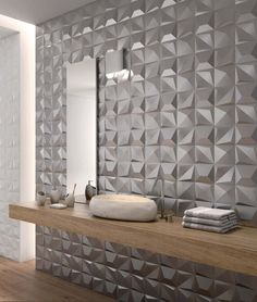 The angles and textures of these new SHAPES Tiles by Dune capture and reflect light beautifully and bring a boring wall to life! Byrd Tile Distributors in Raleigh, NC is happy to carry these tiles, perfect for your next commercial project. 3d Tiles Bathroom, 3d Wall Tiles, Wall Tiles Design, Bathroom Wall Panels, Kitchen Tiles Design, Bathroom Interior, Tiles Uk, Wall Sconces, Contemporary Bathroom Lighting