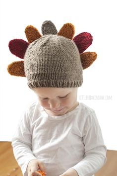 Get started on an adorable knit baby hat for your little one to wear on Thanksgiving. Gobble gobble!